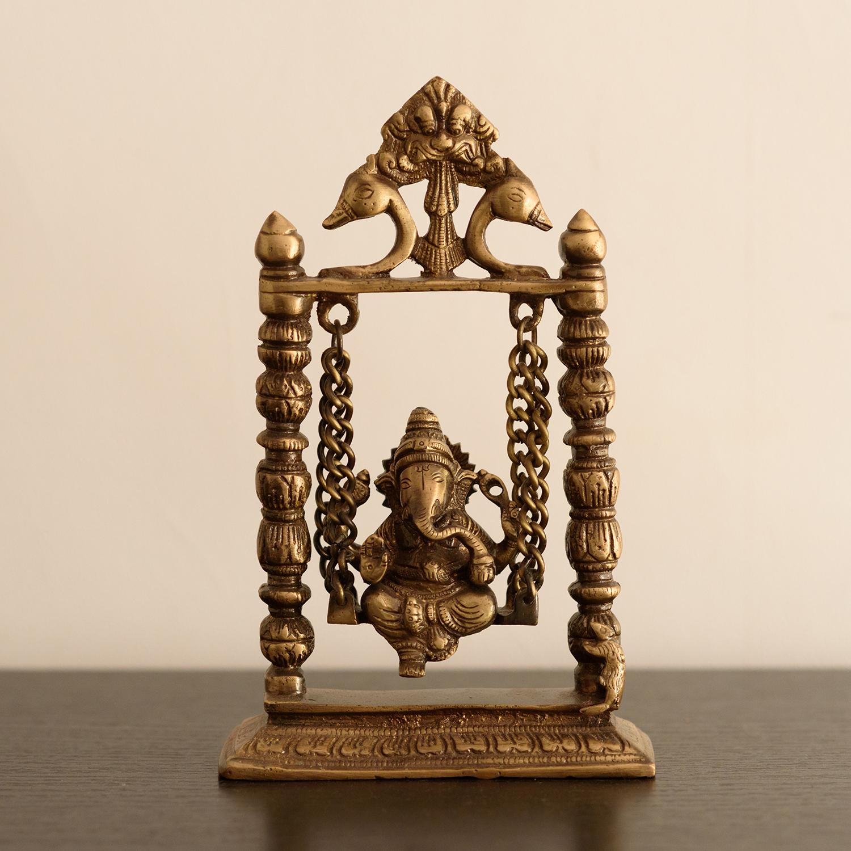 Brass Lord Ganesha on Jhoola Indian Home Decor