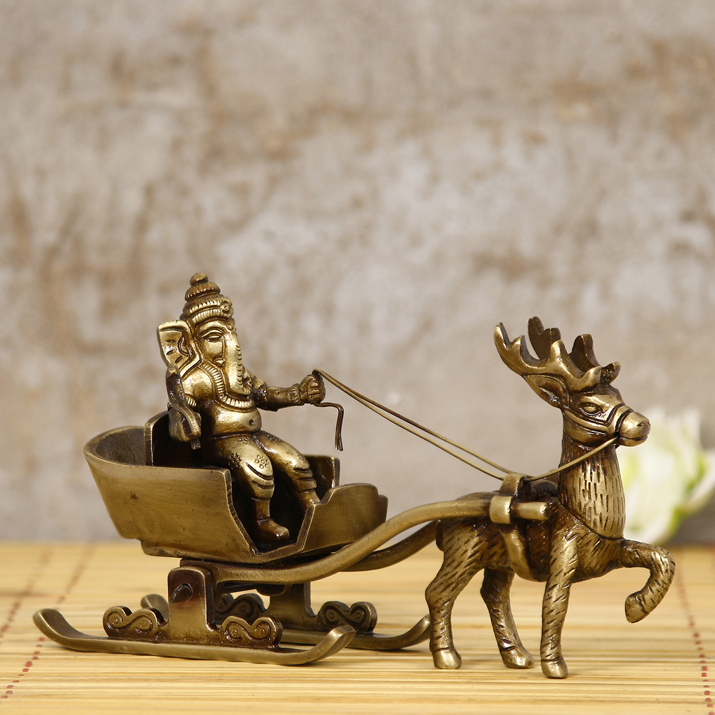 Brass Lord Ganesha Savari Antique Showpiece Indian Home Decor