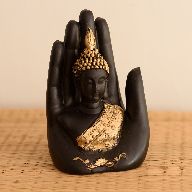 Golden Handcrafted Palm Buddha Decorative Showpiece Indian Home Decor