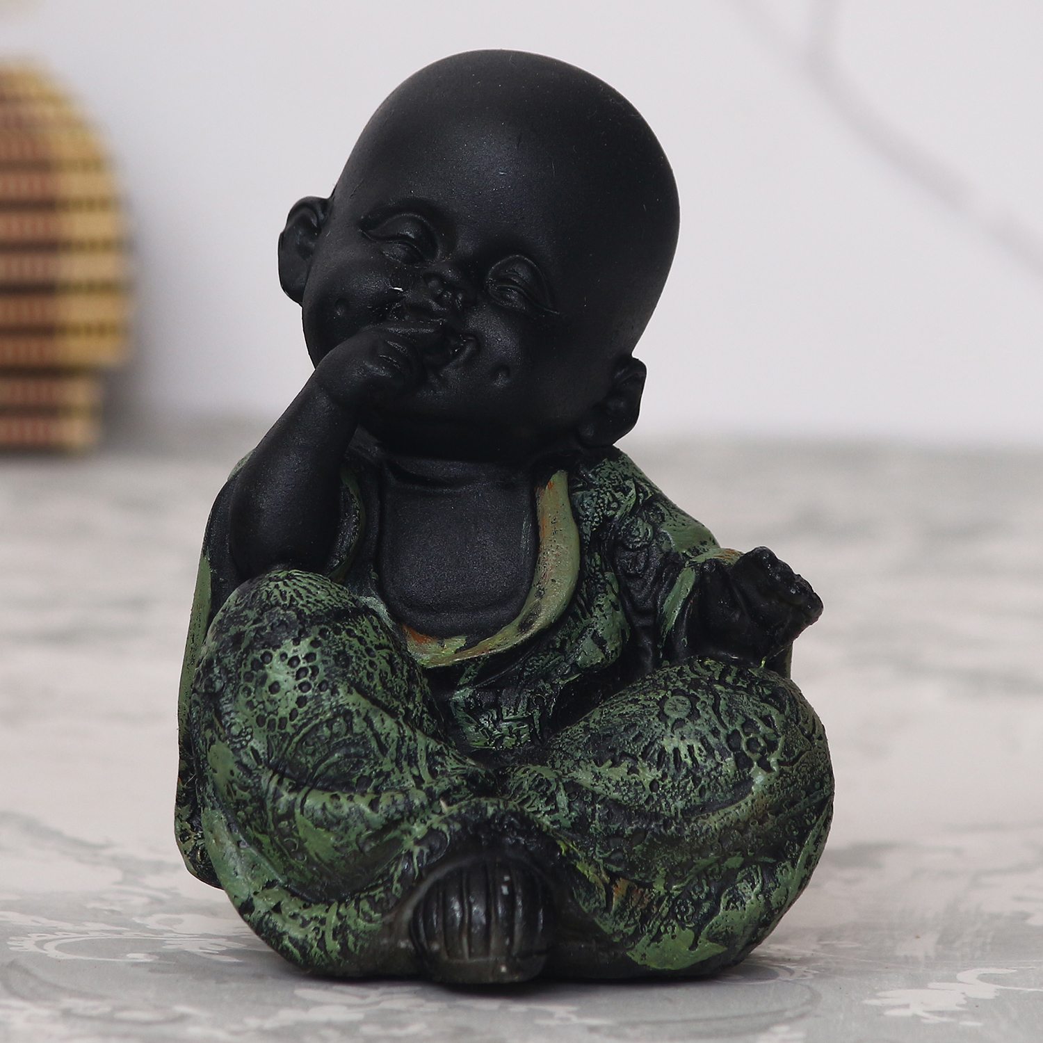 Decorative Smiling Monk Buddha - Green Indian Home Decor