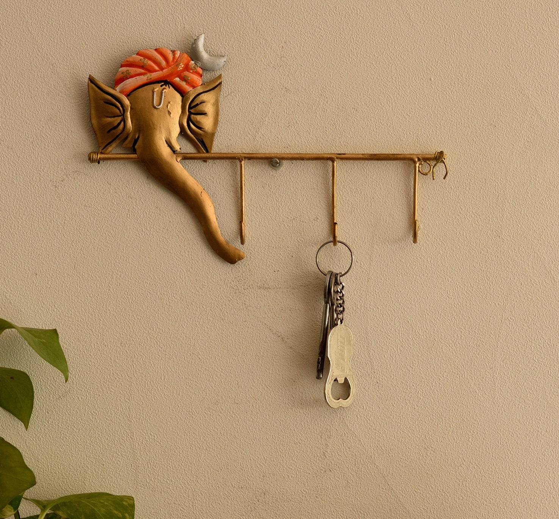 Wrought Iron Lord Ganesha Key Holder Indian Home Decor
