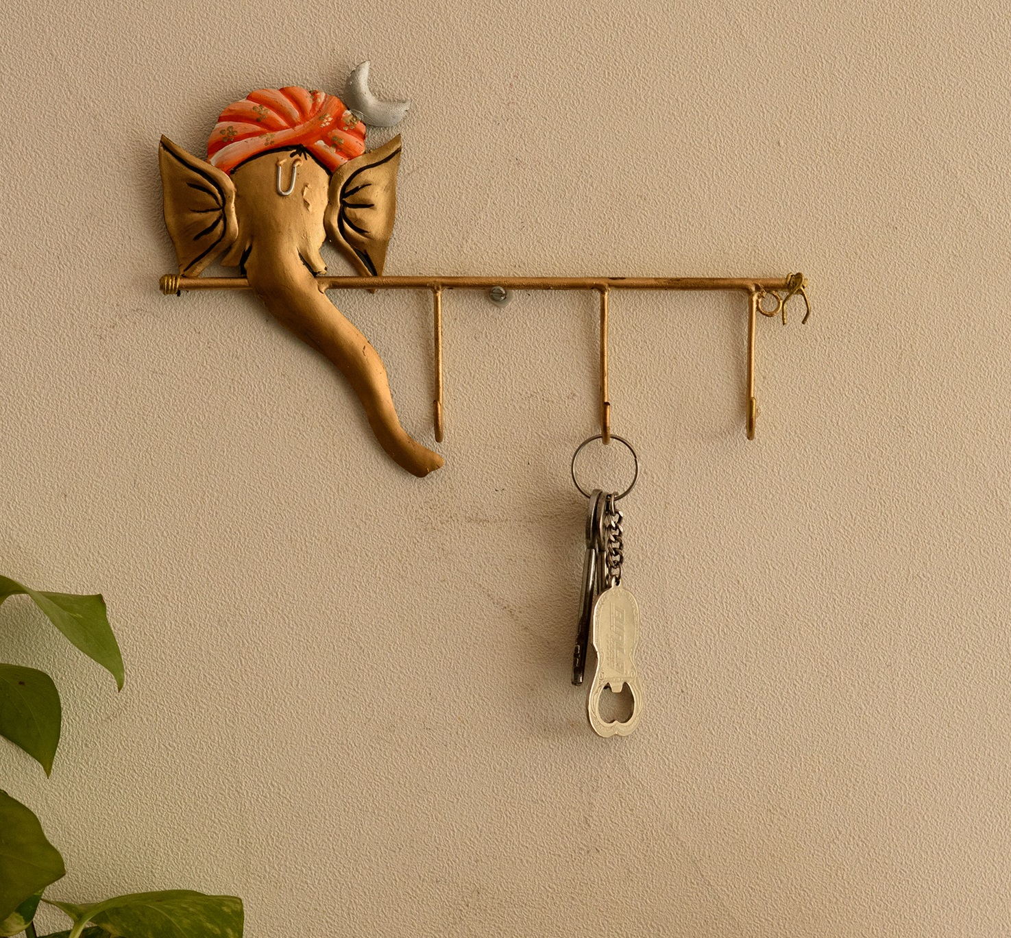 Wrought Iron Lord Ganesha Key Holder Indian Home Decor