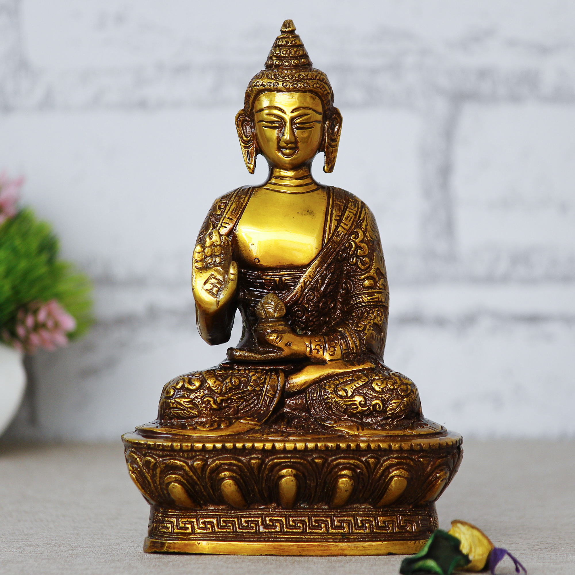 Golden Premium Meditating Blessing Buddha Brass Antique Artifact Indian Home Decor