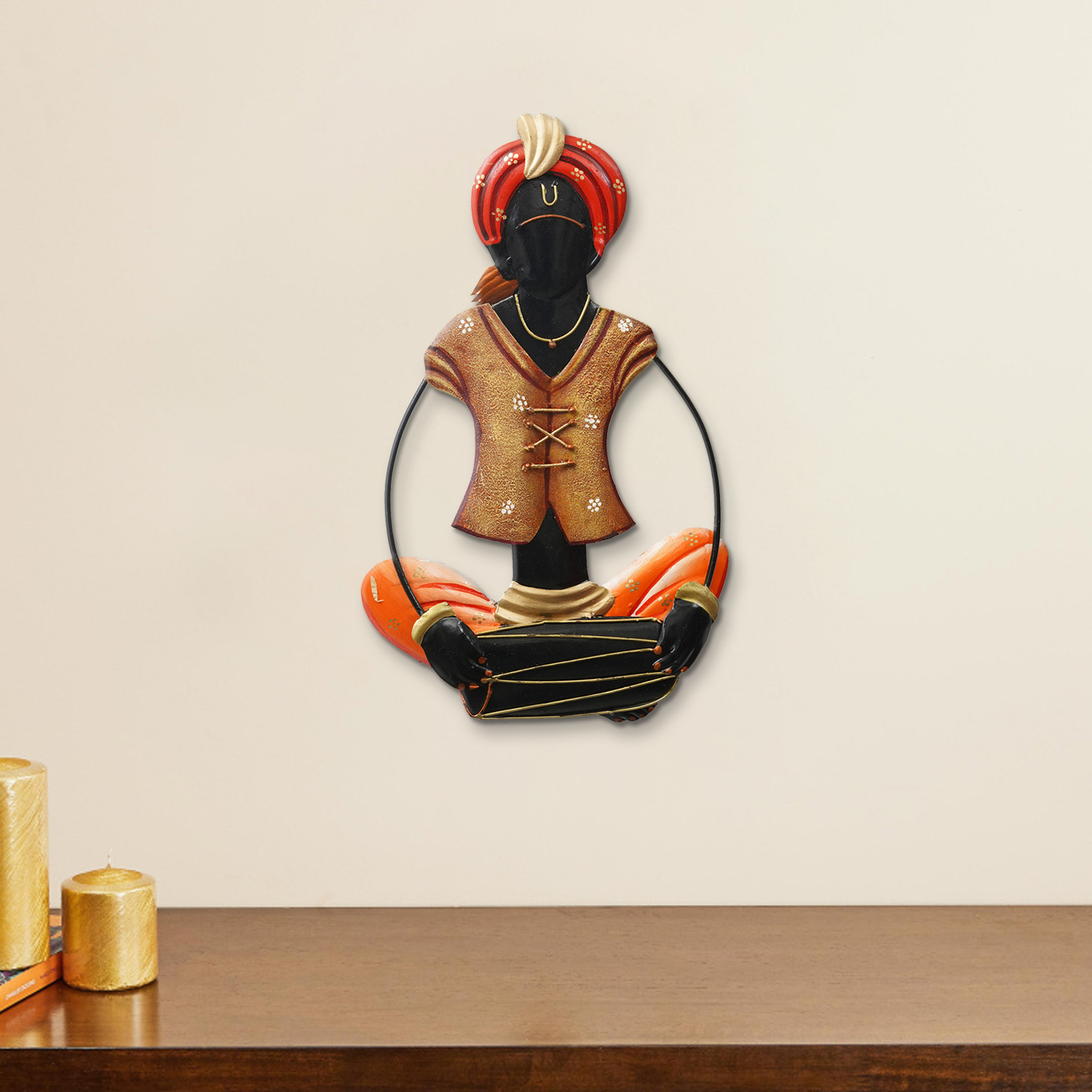 Musician Tribal playing Dholak Handcrafted Iron Wall Hanging Indian Home Decor