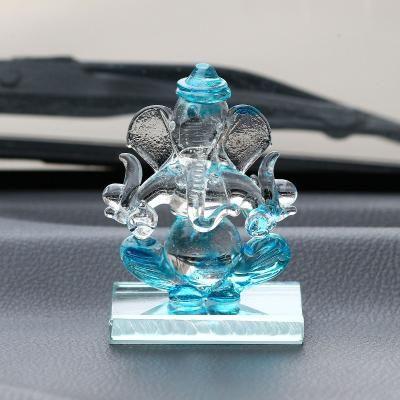 SKyblue and Transparent Double Sided Crystal Car Ganesha Showpiece Indian Home Decor