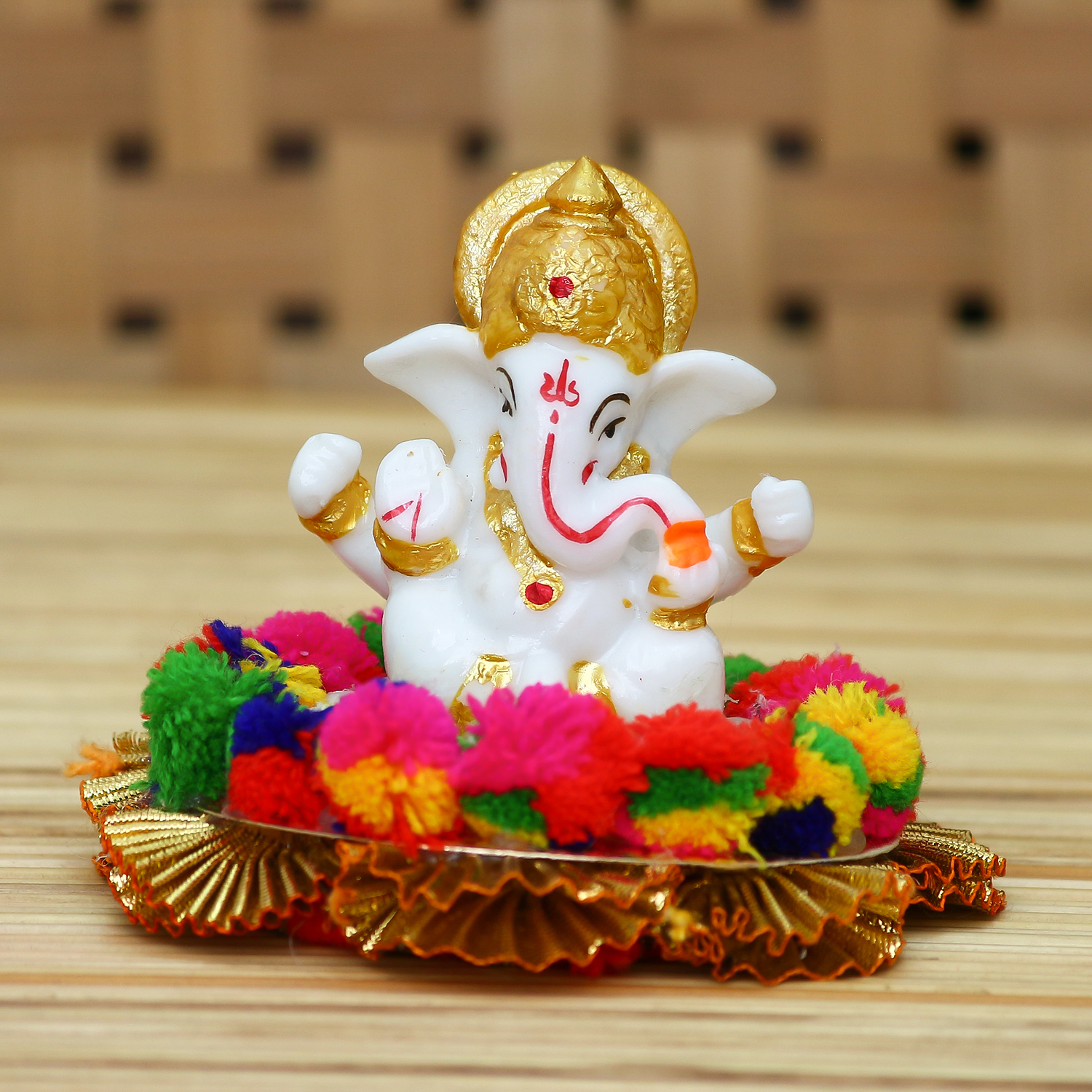Lord Ganesha Idol on Decorative Handcrafted Plate for Home and Car Indian Home Decor