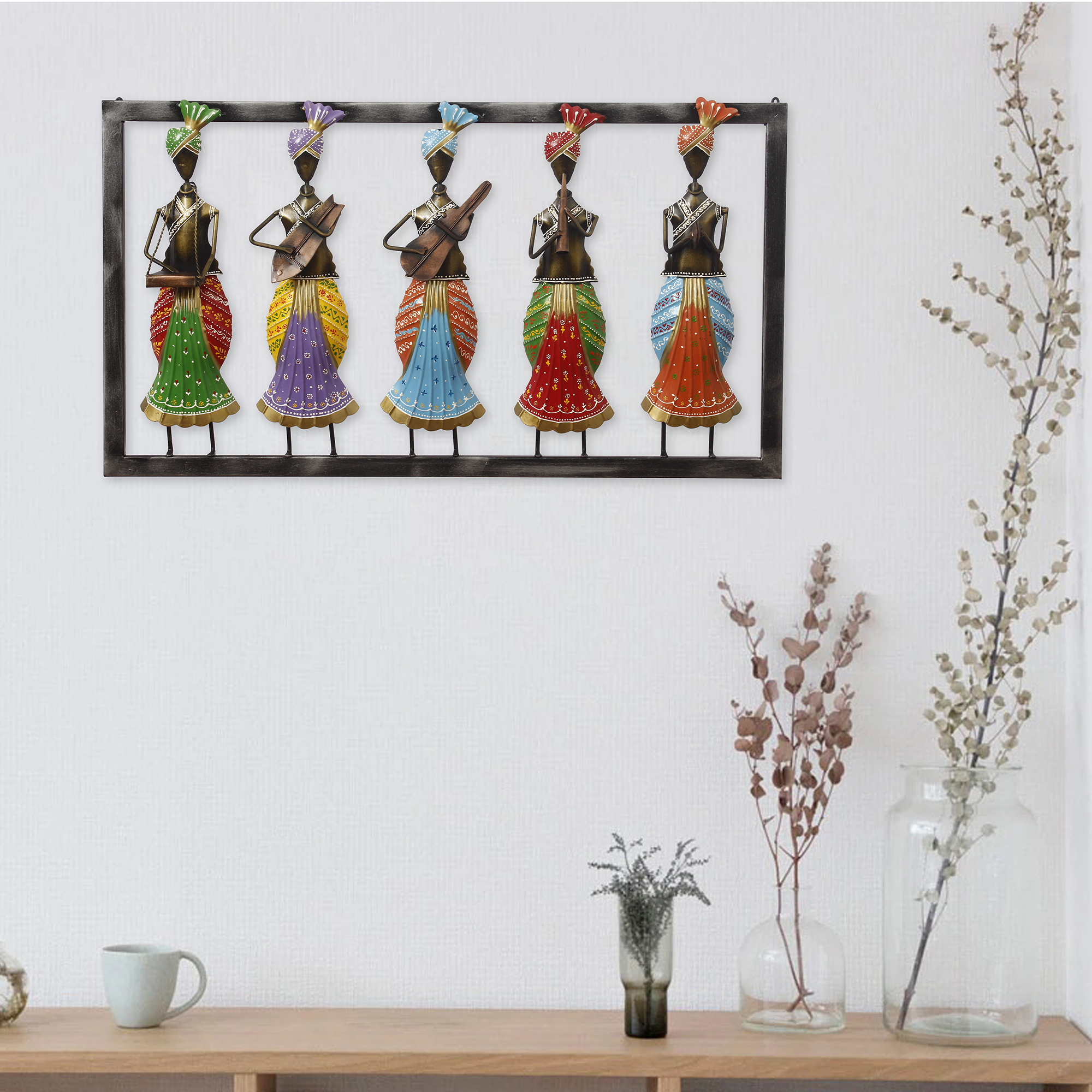 Set of 5 Tribal Women Playing Different Musical Instruments Colorful Decorative Iron Wall Hanging Indian Home Decor