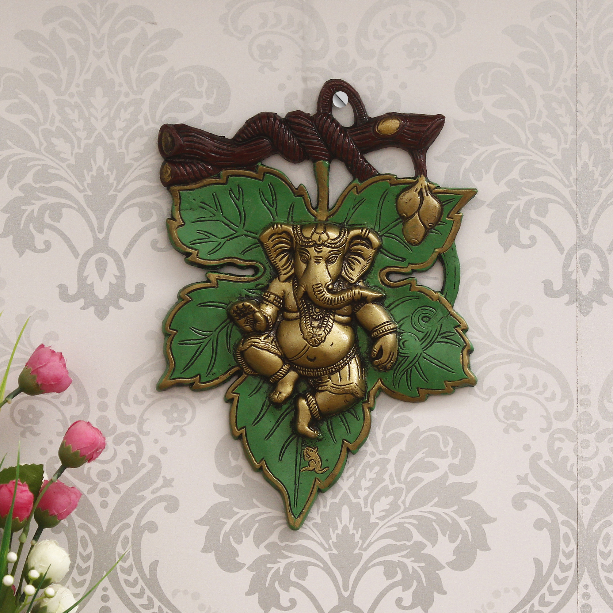 Dancing Golden Lord Ganesha  on Green Leaf Metal Wall Hanging Indian Home Decor