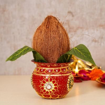 Handcrafted Red Decorative Metal Kalash Indian Home Decor