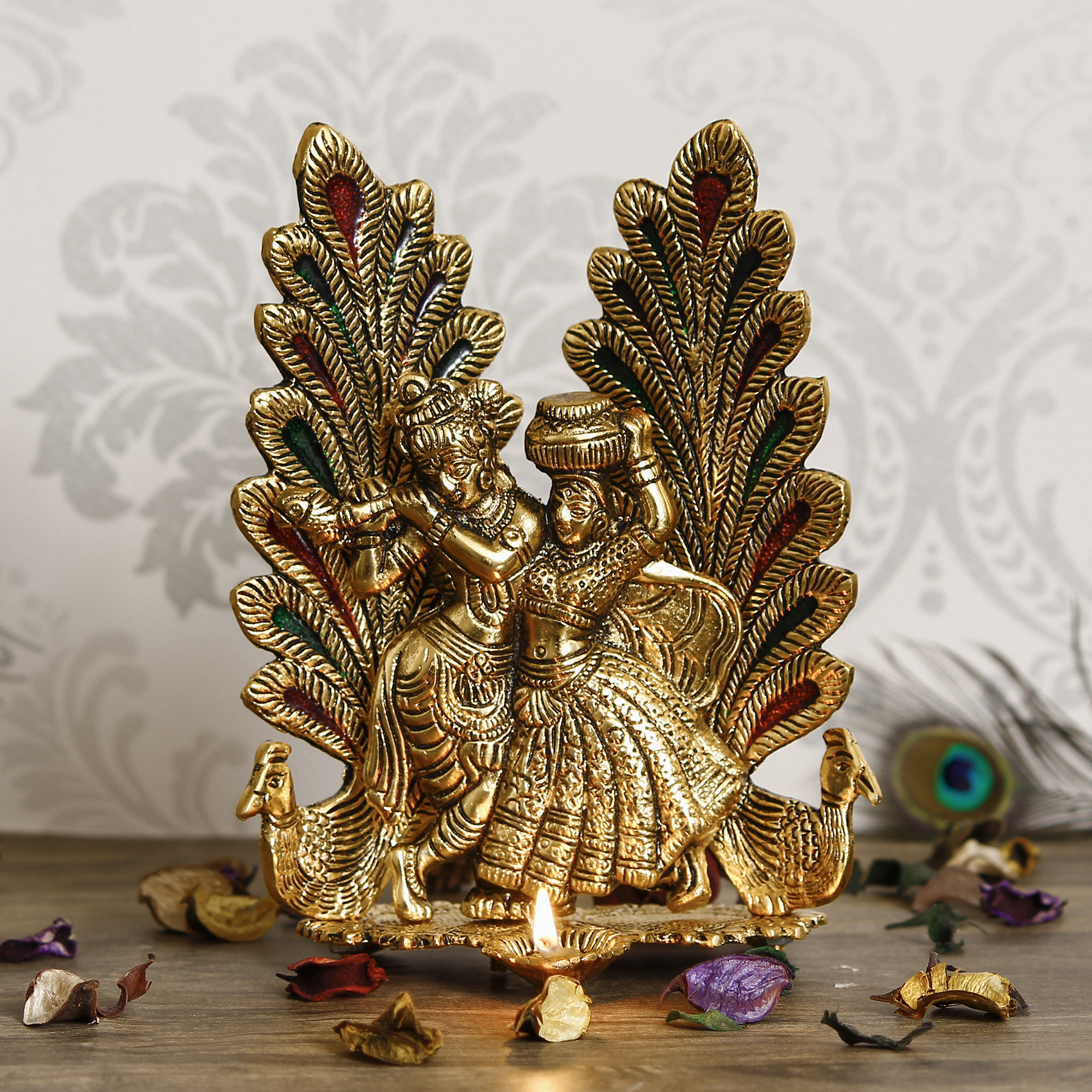 Golden Radha Krishna Idol Metal Decorative Showpiece with Diya Indian Home Decor