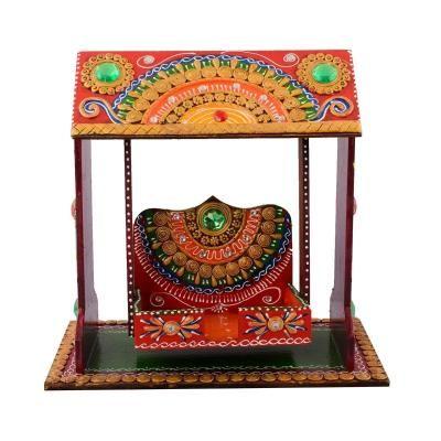 Decorative Papier-Mache work Wooden Jhula Temple Indian Home Decor