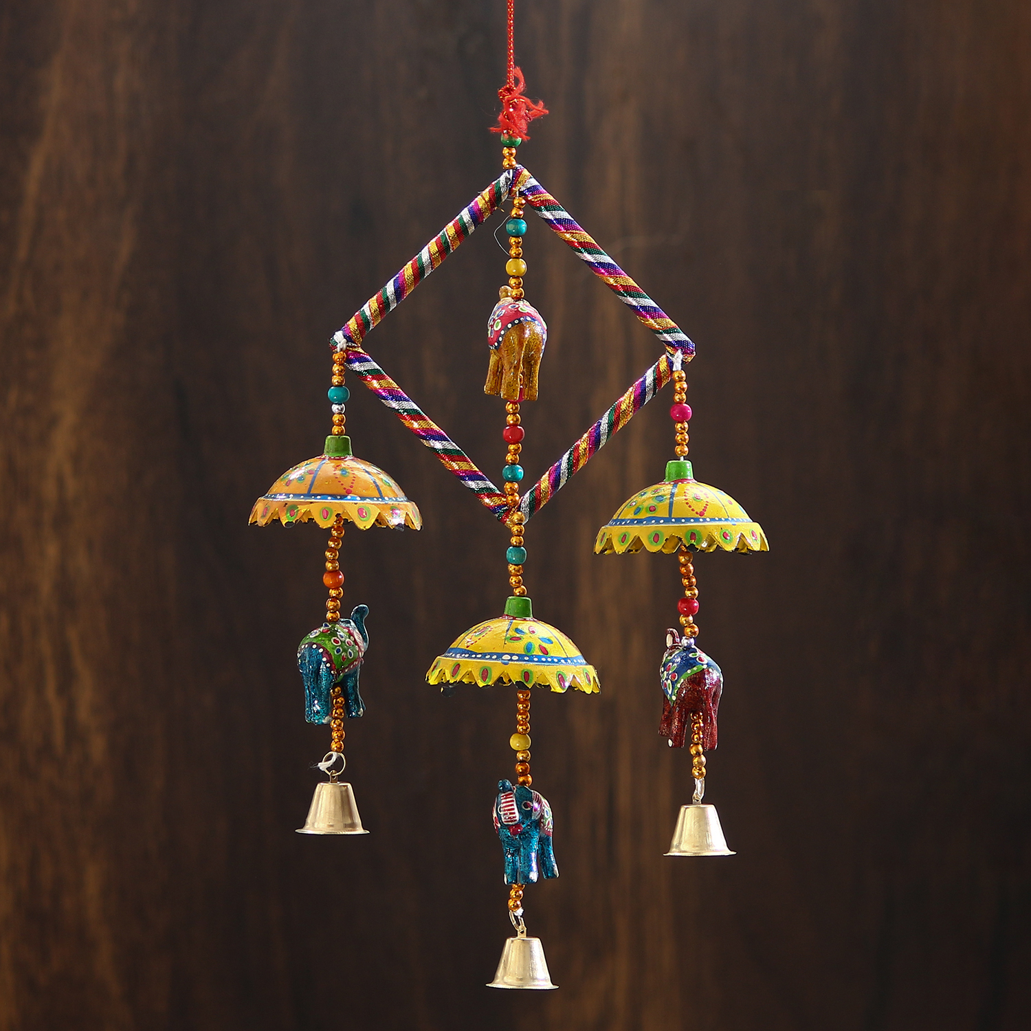 Handcrafted Decorative Elephant with Chatri Wall/Door/Window Hanging Bells Indian Home Decor