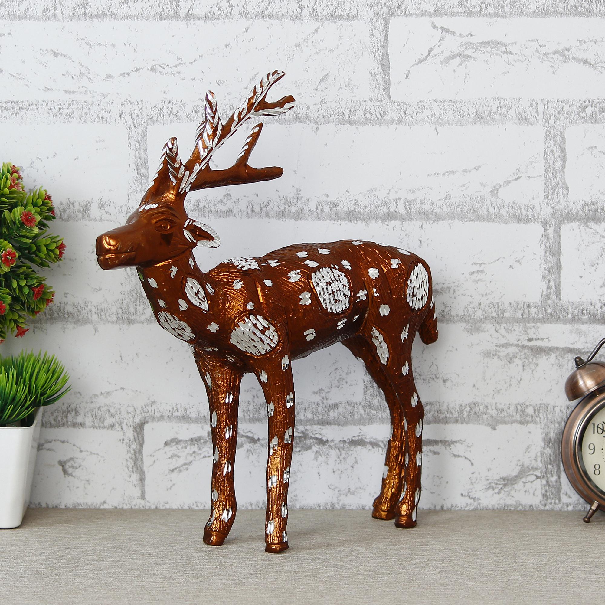 Set of 2 Premium Metal Colorful Deer Figurine Indian Home Decor