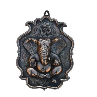 Metal Wall Handing of Lord Ganesha with Om Indian Home Decor