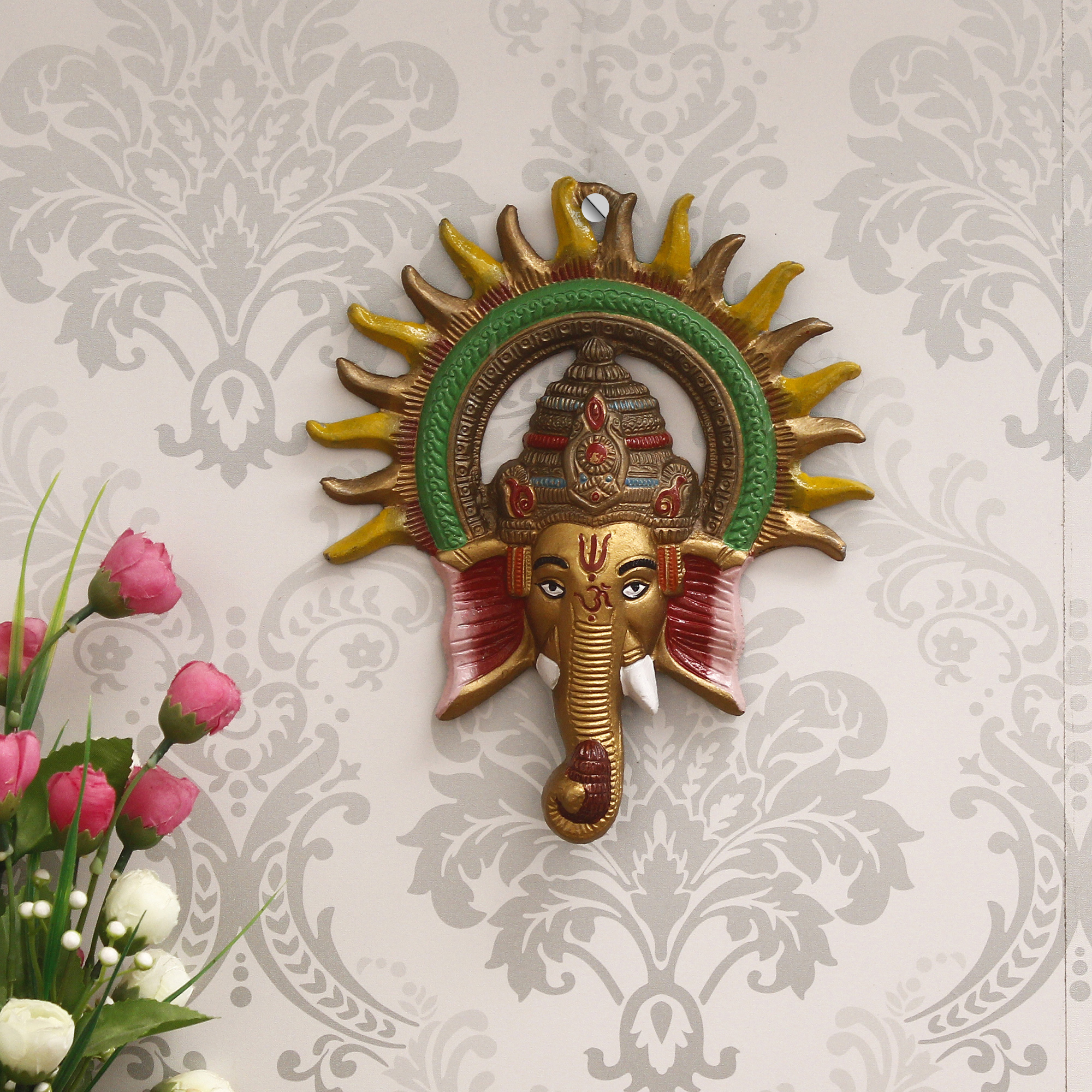 Colorful Lord Ganesha with Sun Decorative Metal Wall Hanging Indian Home Decor