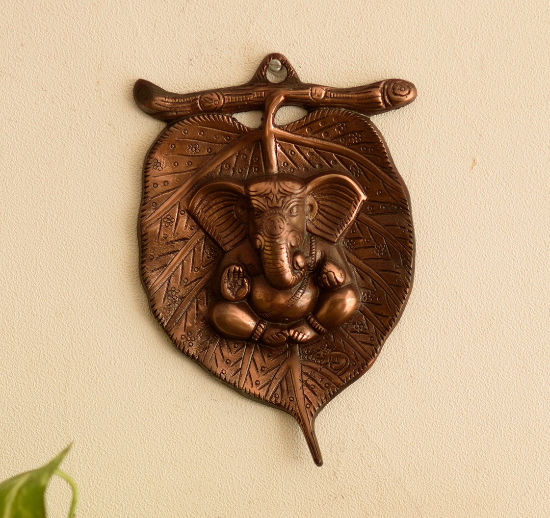 Metal wall hanging of Lord Ganesha on Leaf Indian Home Decor
