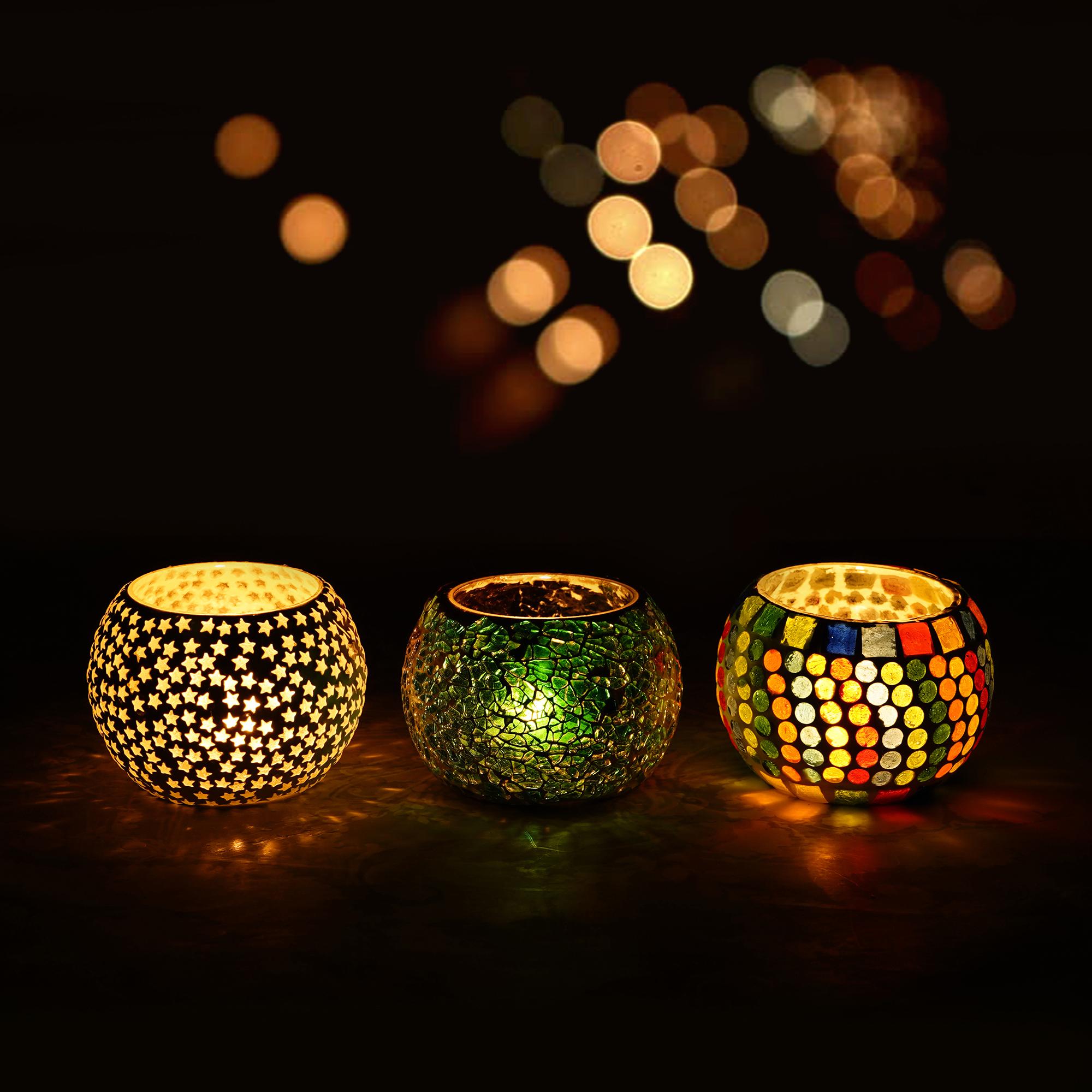 Set of 3 Mosiac Glass Decorative Tea Light Holder/Diya Indian Home Decor