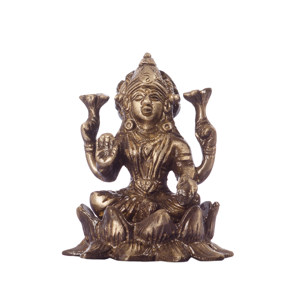 Antique Finish Brass Goddess Laxmi on Lotus Indian Home Decor