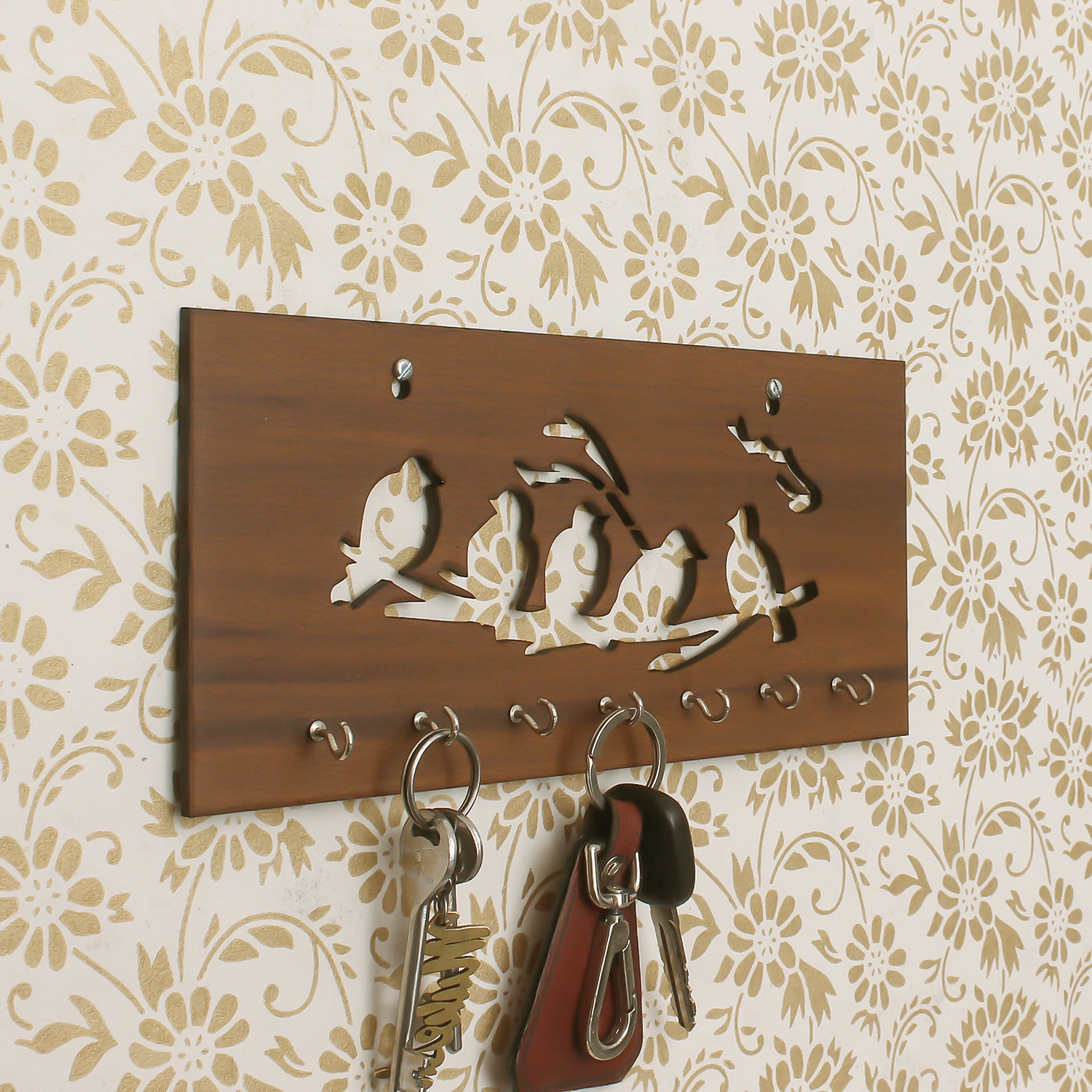 Birds Theme Wooden Key Holder with 7 Hooks Indian Home Decor