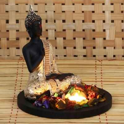 Golden Meditating Buddha Decorative Showpiece with Wooden Base, Fragranced Petals and Tealight Indian Home Decor