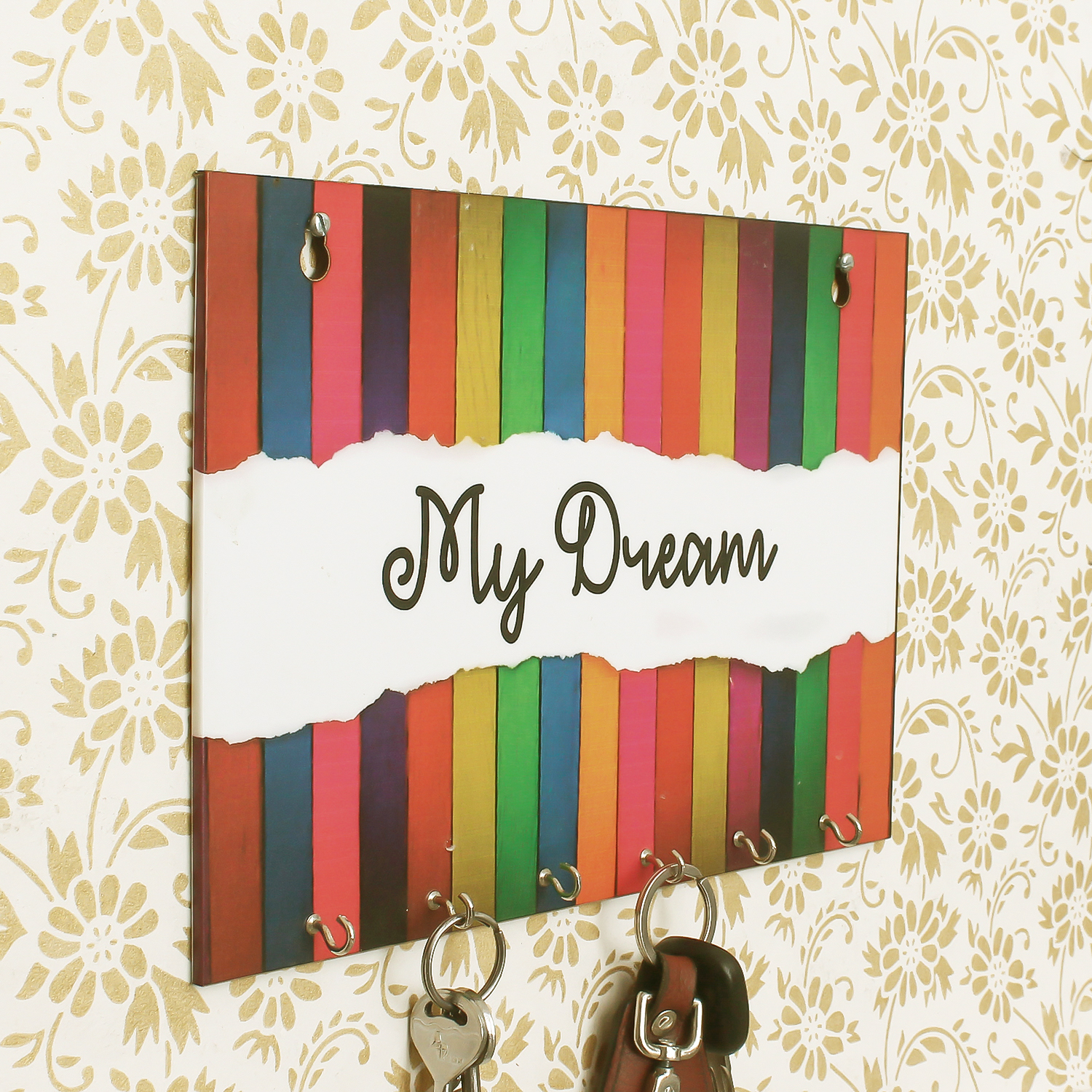 My Dream Theme Wooden Key Holder with 6 Hooks Indian Home Decor
