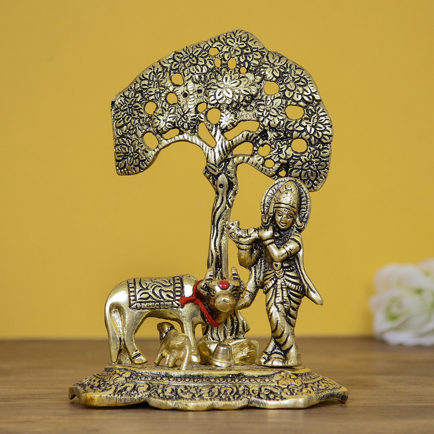 Lord Krishna playing Flute under Tree with Golden Cow and Calf Showpiece Indian Home Decor