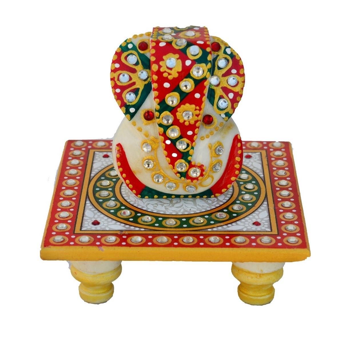 Lord Ganesha on Kundan Studded Marble Chowki Indian Home Decor