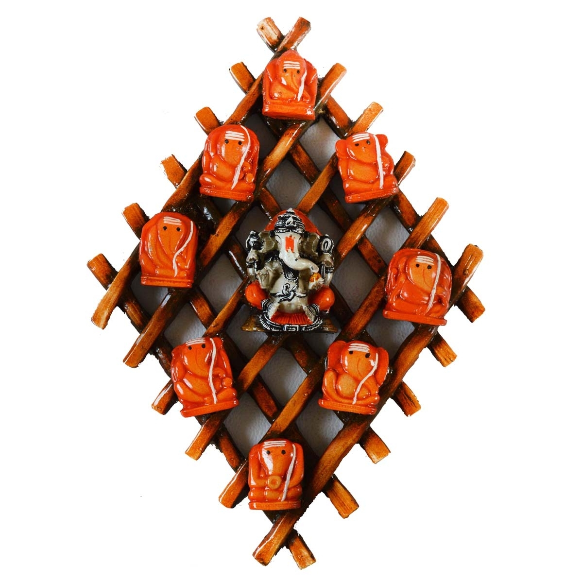 Wooden Wall hanging with 9 variants of Lord Ganesha Indian Home Decor