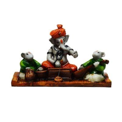 Lord Ganesha playing Harmonium with 2 Rats Indian Home Decor