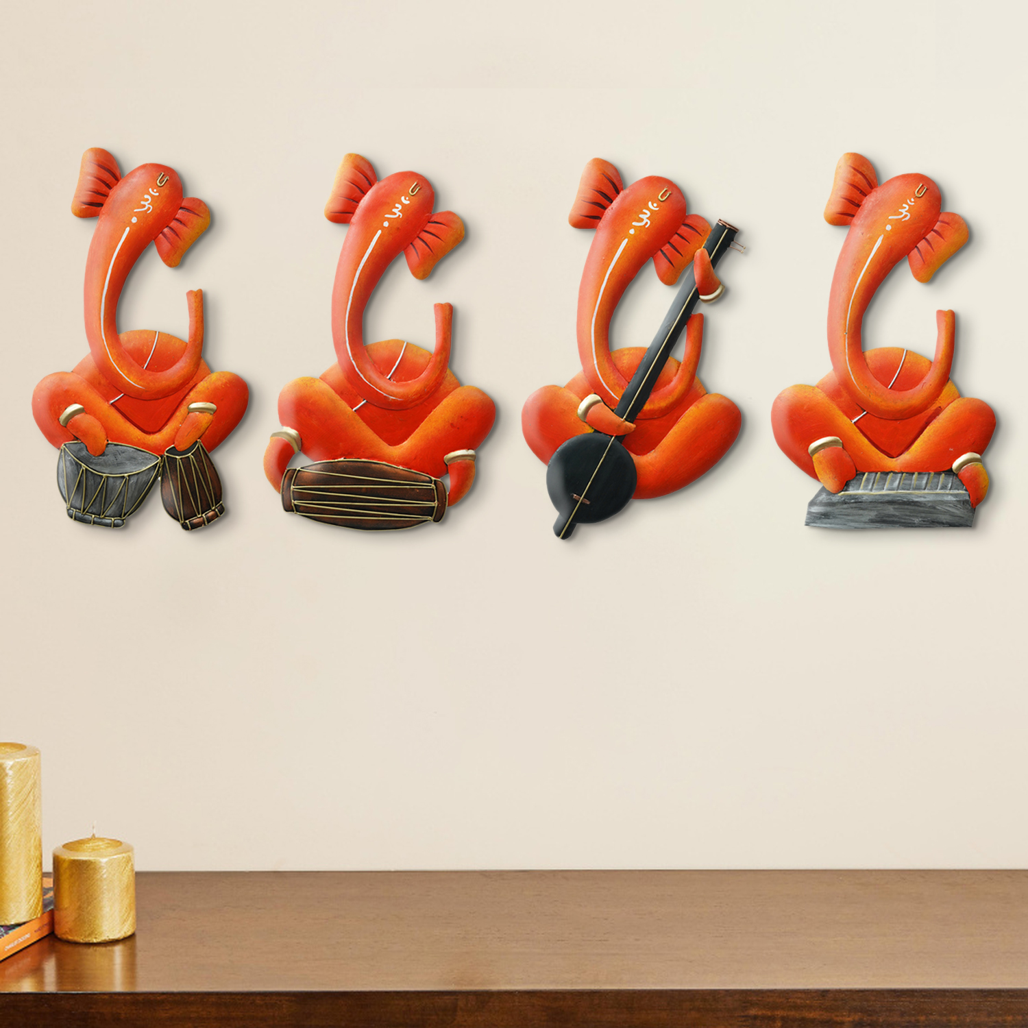Set of 4 Musician Lord Ganesha Handcrafted Iron Wall Hangings Indian Home Decor
