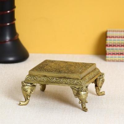 Brass Traditional Pooja Chowki with Swastik Indian Home Decor