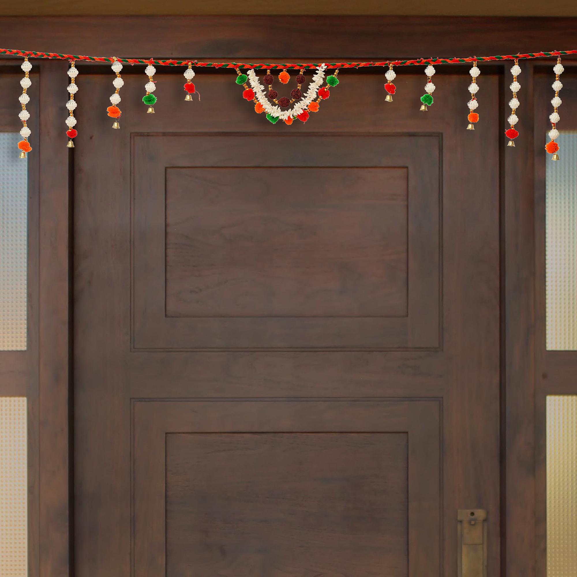 Decorative Colorful Bandarwal/Toran  Door Hanging with Shells and Rudraksh Indian Home Decor