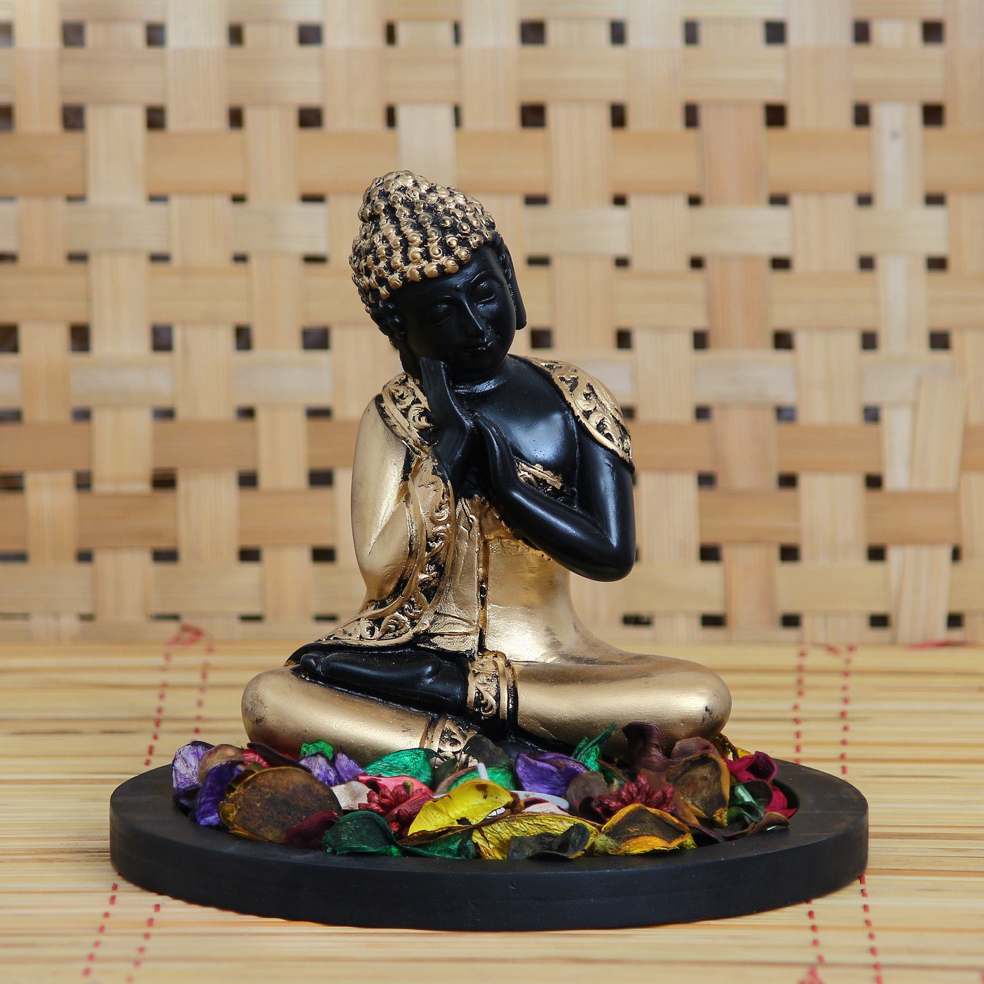 Golden Resting Buddha Decorative Showpiece with Wooden Base, Fragranced Petals and Tealight Indian Home Decor