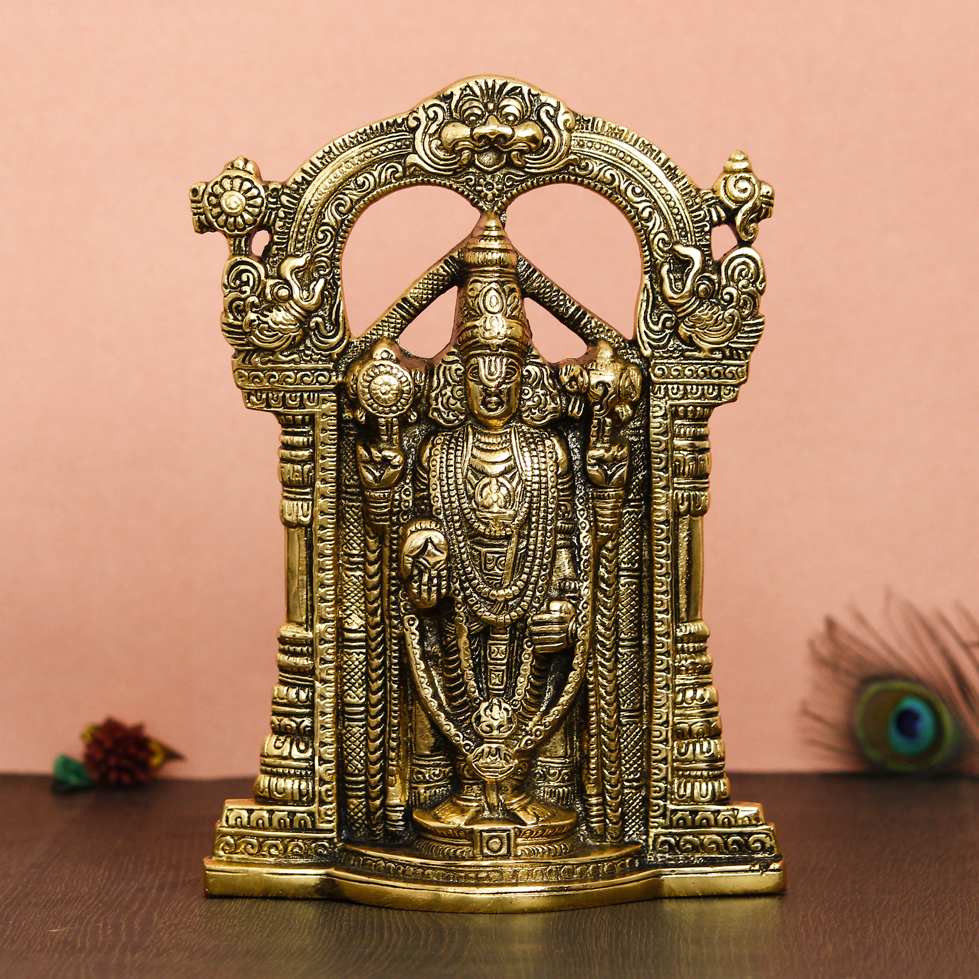 Golden Lord Balaji Idol Metal Decorative Showpiece Indian Home Decor