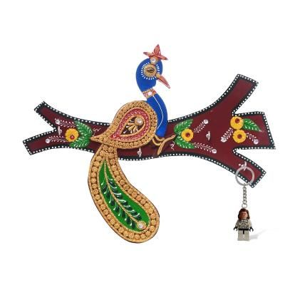 Peocock sitting on Branch Papier-Mache Wooden Keyholder Indian Home Decor