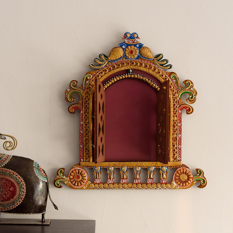 Decorative Papier-Mache Wooden Jharokha Wall Hanging Indian Home Decor