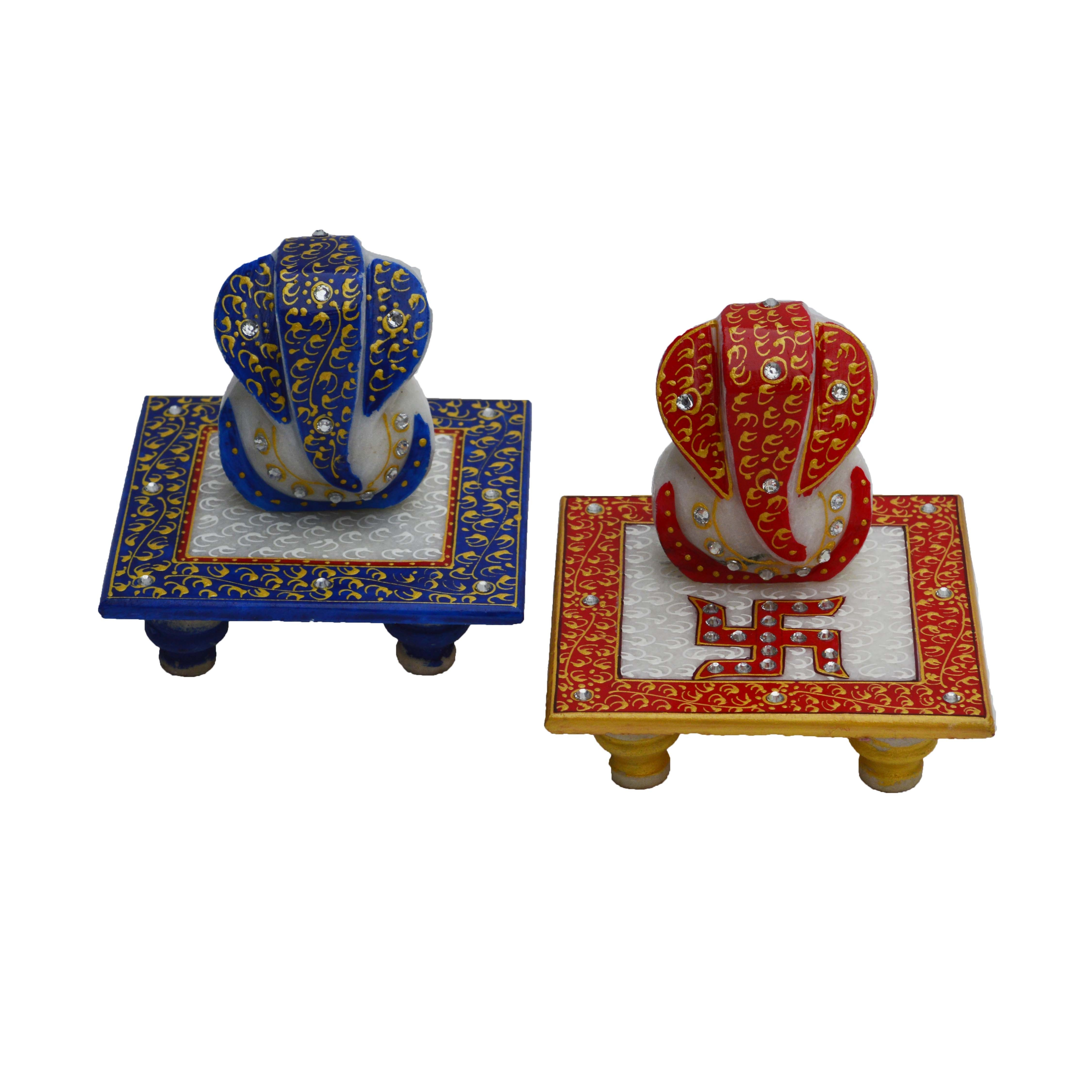 Set of Ridhi Sidhi Marble Chowkis Indian Home Decor