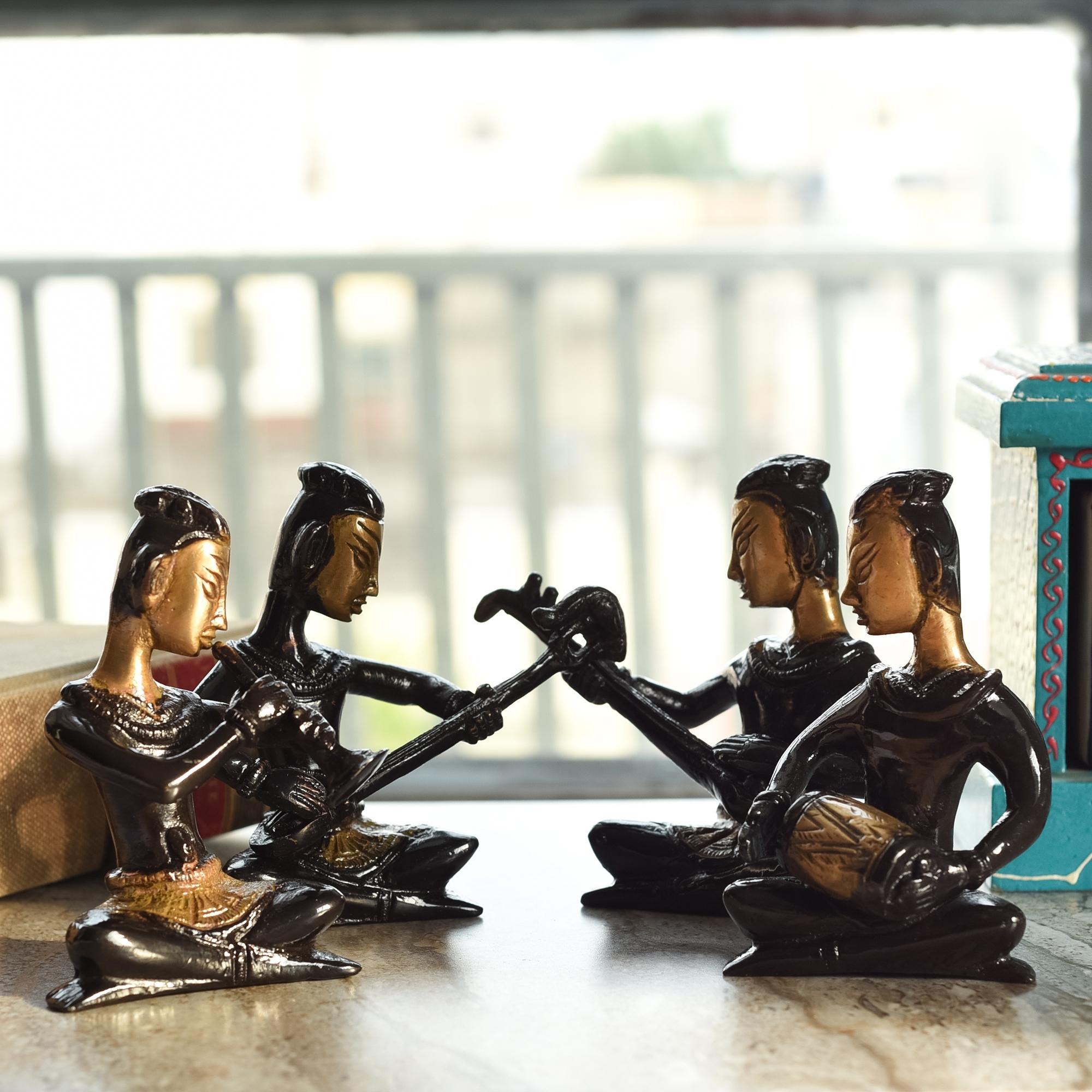 Set of 4 Brass Musical Ladies Decorative Antique Showpiece Indian Home Decor