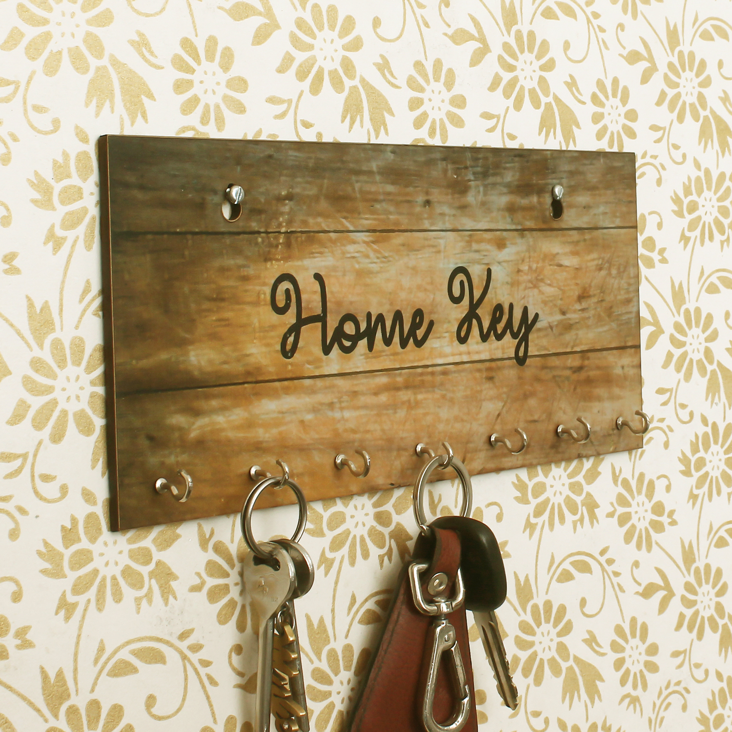 Home Key Theme Wooden Key Holder with 7 Hooks Indian Home Decor