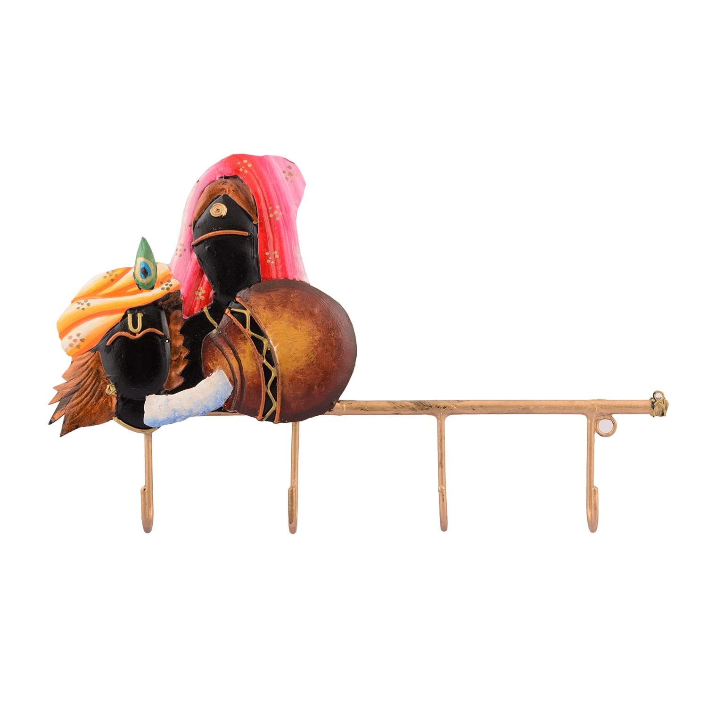 Radha Krishna Wrought Iron Key Holder Indian Home Decor