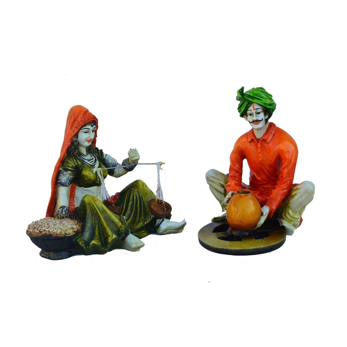 Combo of Rajasthani Craftmen and Lady Statue Indian Home Decor