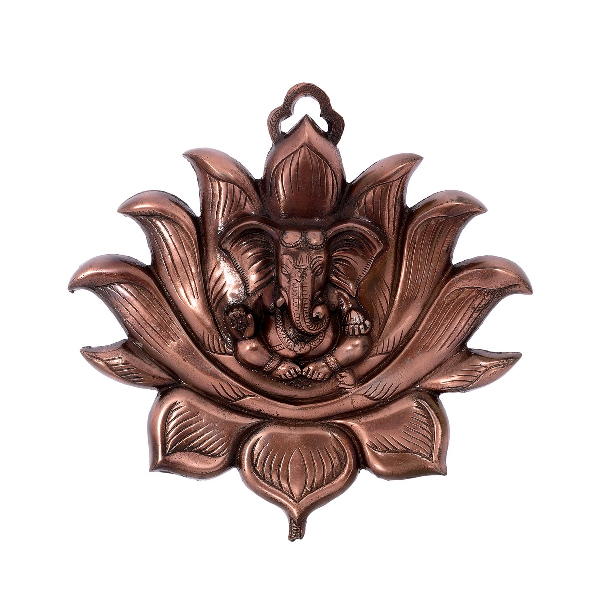 Metal Wall Hanging of Lord Ganesha on Lotus Indian Home Decor