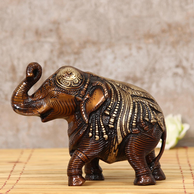 Antique Finish Decorative Brass Elephant Fingurine Indian Home Decor