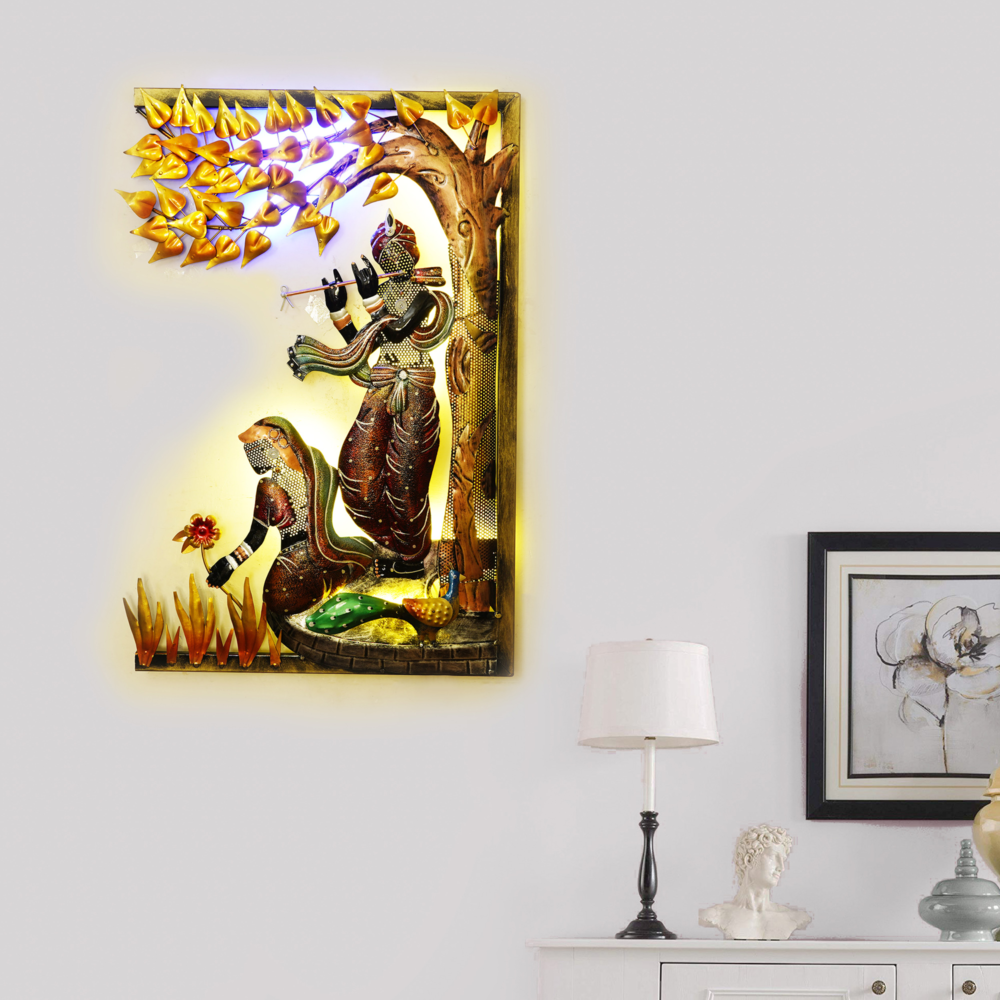 Lord Krishna Playing Flute Under Tree with Radha Ji Handcrafted Iron Wall Hanging with Background LEDs Indian Home Decor