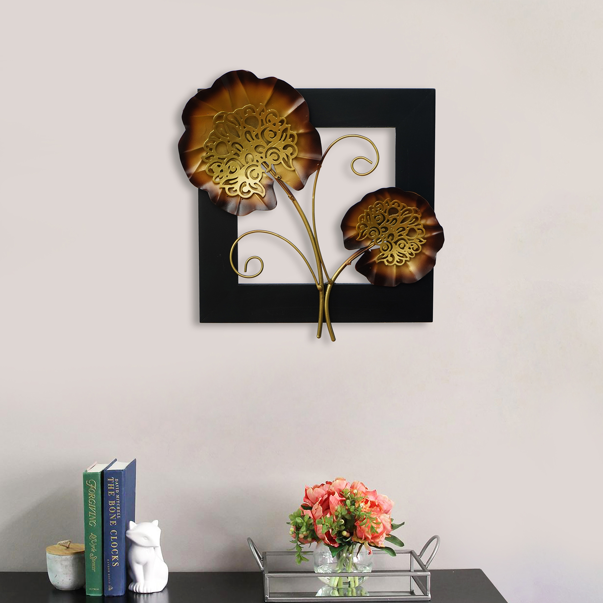 Golden Iron Leaves with Wooden Frame Handcrafted Wall Hanging Indian Home Decor