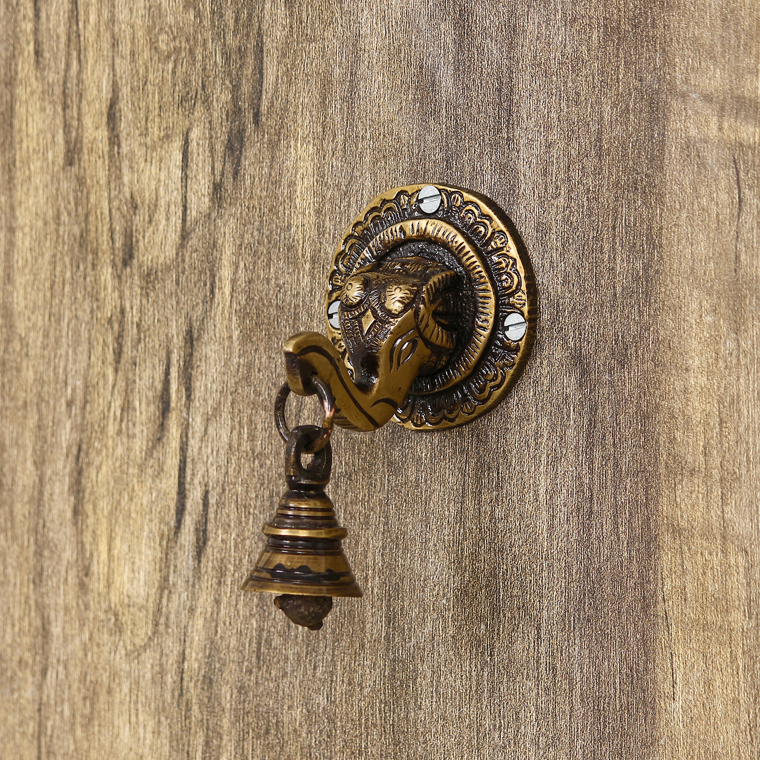 Brass Lord Ganesh Face wall Hanging with Bell Indian Home Decor