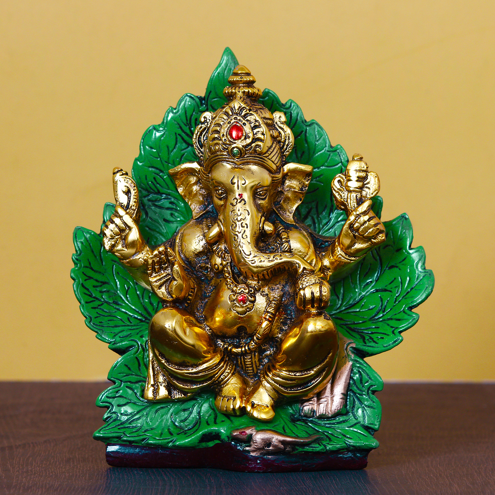 Golden Sitting Lord Ganesha on Green Throne Metal Decorative Showpiece Indian Home Decor