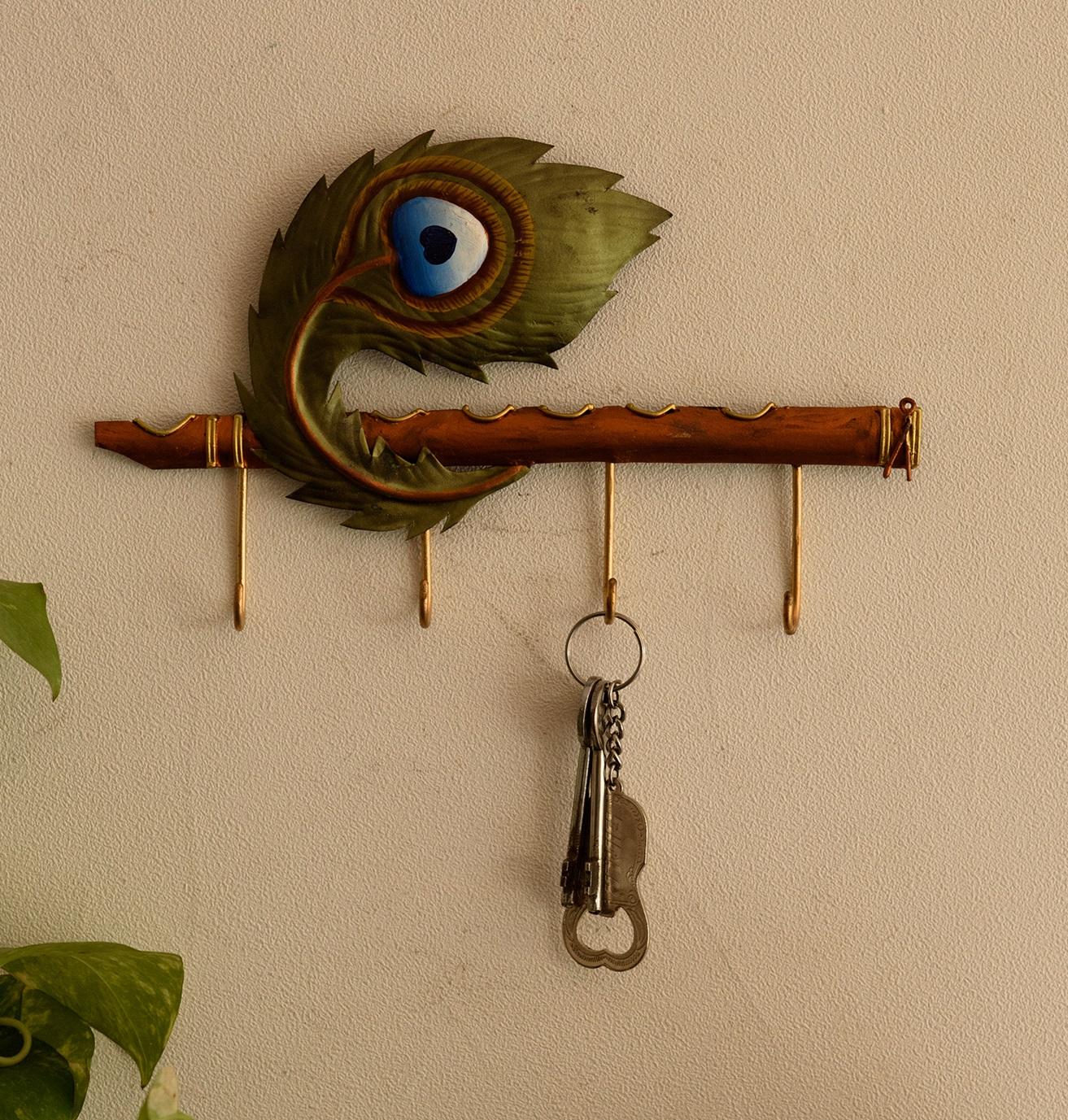 Wrought Iron Mor Pankh Key Holder Indian Home Decor