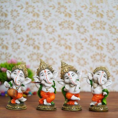 Set of 4 Colorful Lord Ganesha Dancing Avatar Decorative Showpiece Indian Home Decor