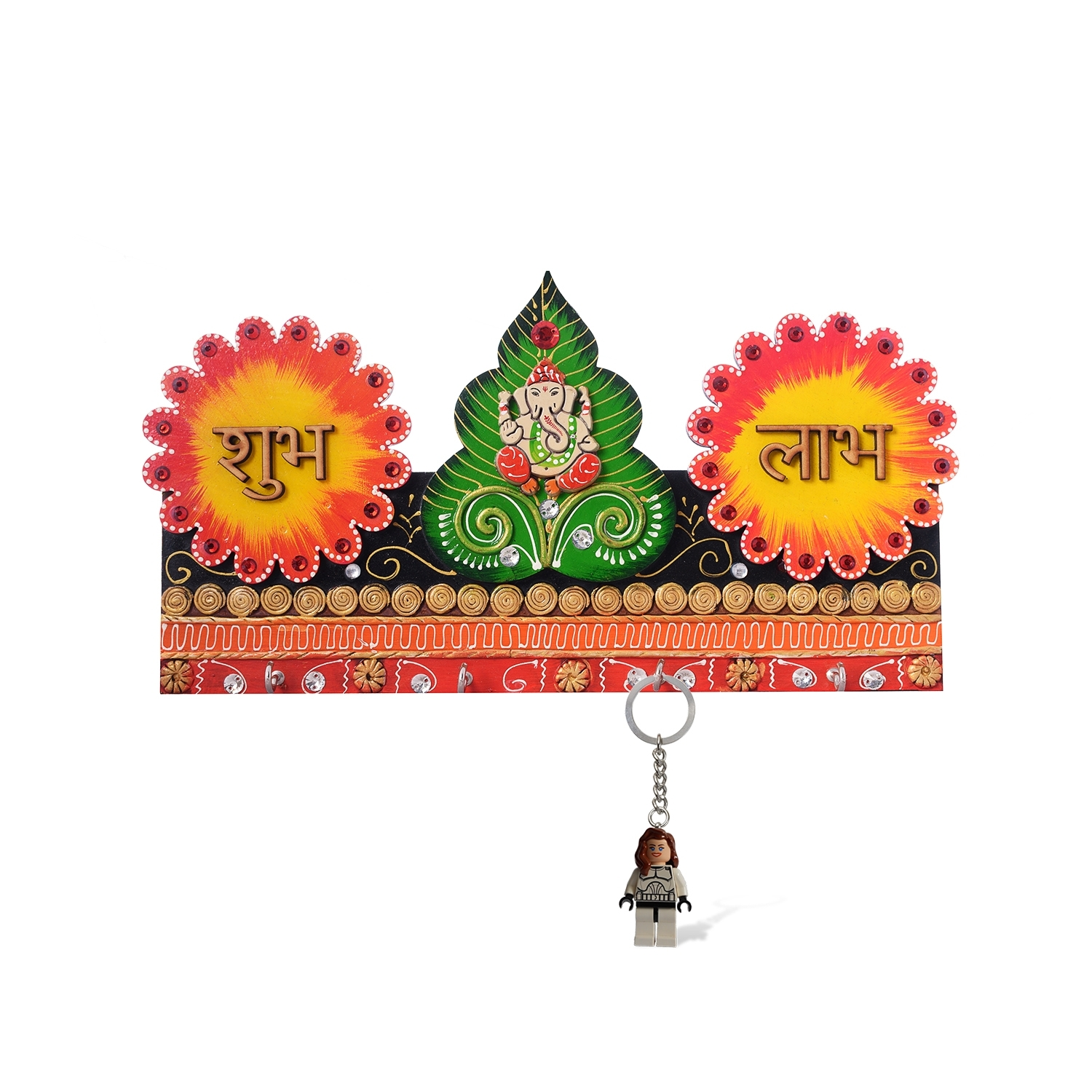 Lord Ganesha & Shubh Labh Papier-Mache Wooden Keyholder Indian Home Decor